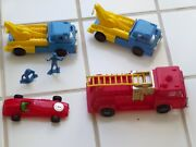 Vintage Lot Of 1960's Gay Toys 2 Tow Trucks Playset With Workers Racer Fire