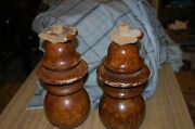 Large Wooden Grain Painted Newl Post Finials 1800s