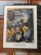 7257----1991 Mario Lemieux Limited Signed Stanley Cup Photo W/coa - 40 Of 266