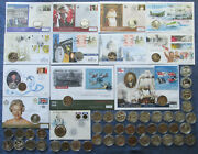 Gibraltar £5 Pound Crown Commemorative Coins, Base Metal And Silver, Bu And Proof