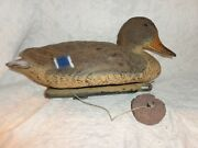 Vintage Carry Lite Working Plastic Duck Decoy With String And Clay Weight
