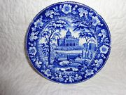 Early19th.c Historical Blue Staffordshire Boston State House Plate, 6-1/2 Dia.