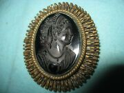 Unique Large 19th Century Victorian Whitby Jet Bust Cameo Set In Rare Metal Ooak