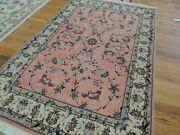 3x5 Silk And Wool Traditional Oriental Area Rug Pink Gray Blue Hand-knotted