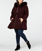 Laundry By Shelli Segal Plus Size Faux Fur Hooded Belted Wool Coat - Plum - Uk4x