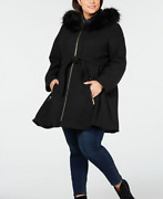 Laundry By Shelli Segal Plus Size Faux Fur Hooded Belted Wool Coat - Black