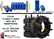 Full Set Of Ford 8x170 2 Thick Hub Centric Wheel Adapters + 32 Spline Lug Nuts