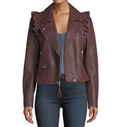 Paige Women's Annika Leather Moto Jacket-colordark Red-sizel- Nwt