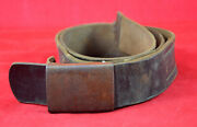 German Wwii Wehrmacht Military Steel Buckle + Leather Belt Very Rare War Relic
