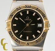 Omega Constellation Quartz Two-tone Watch W/ Diamond Dial And Date Feature