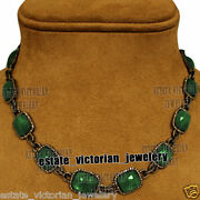 Vintage 18.01cts Rose Cut Diamond Emerald Studded Silver Bridal Necklace Jewelry