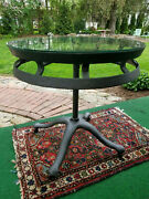 Antique Iron Wheel Farm Implement Side Table Industrial Warehouse 30.5x30