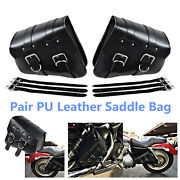 Portable Motorcycle Pu Leather Leftand Right Side Bag Saddle Bags Black