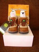 John Deere Youth Boots Rust Suede W/ Shearling Size 2 M New In Box