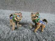 Pair Of Antique Chinese Miniature Silver And Enamel Foo Dogs