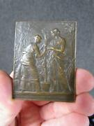 Antique 1899 Daniel Dupuis Bronze Medallion Double Sided Signed On Both Sides