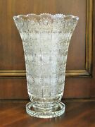 Bohemian Czech Vintage Crystal 12 Tall Vase Hand Cut Queen Lace 24 Lead Glass