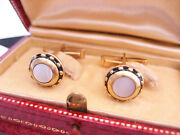 Vintage Gold Plated Sterling Silver Enamel Mother Of Pearl Cufflinks Buttons