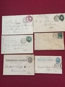 Us Postal Stationery 6 Used Hand Stamped 19th Century Variety
