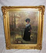 Antique English Oil On Canvas Painting 19th Century