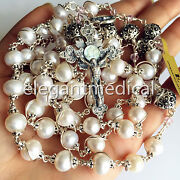Sterling Silver Bead +aaa Real Pearl Catholic 5 Decade Rosary Necklace Cross Box