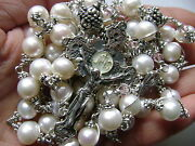 Bali Sterling 925 Silver Beads And Real Pearl Catholic Rosary Cross Necklace And Box