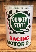 Vintage Nos Quaker State Auto Racing Motor Oil Gas Service Station 1 Qt Can Sign