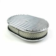 12 Oval Finned Polished Aluminum Classic Nostalgia Air Cleaner Fits Chevy Ford