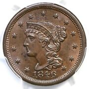1846 N-6 Pcgs Ms 63 Bn Cac Small Date Braided Hair Large Cent Coin 1c