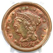 1847 N-29 R-3- Pcgs Ms 63 Rb Braided Hair Large Cent Coin 1c