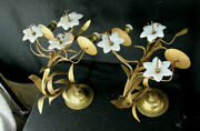 Pair Large Antique French Religious Church Brass Opaline Lily Flower Sconces