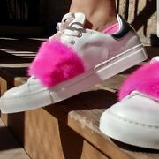 Moncler Womens Shoes Leather Fashion Sneaker Mink Fur Size 7 Size 37andnbsp
