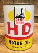 Vintage Nos Penn Drake Hd Auto Motor Oil Gas Station 1 Qt Unopened Can Sign