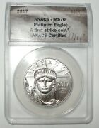 2017 1 Oz Platinum Eagle Ms70 20th Anniversary First Strike Certified On Sale