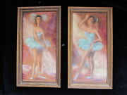 Pair Authentic Mid Century Fine Art Ballet Oil Paintings Framed North Hollywood