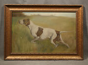 Continental School 19th Century Animal Painting Pointer Hunting Dog In Landscape
