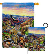 Canyon Friends Wildlife Animal Coyotes Sheep Ringtail Cat Garden House Yard Flag