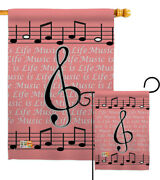 Music Is Life Party And Celebration Clef Octa Note Feeling Garden House Yard Flag