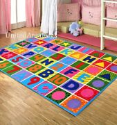 8x11 Abc Area Rug Kids School Educational Alphabet And Numbers Colorful Play New