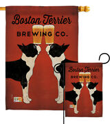 Boston Terrier Brewing Pets Dog Puppy Beer Cat Ice Cold Garden House Yard Flag