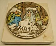 Fenton Hand-painted Christmas Plate Signed - Nativity Baby Jesus And Mary 7418
