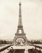 Vintage 1889 Photograph Of The Eiffel Tower In Paris