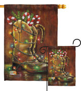 Xmas Boot Christmas Cowboy Country Western Vintage Wooden Garden House Yard Flag