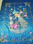Antique Chinese Qing Dynasty Hand Embroidered Wall Hanging Panel Size77x54