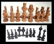Antique Hand Carved Wooden Chess Figurines Collection