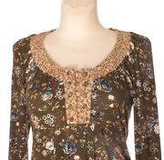 Container Women's Cowl Neck Long Sleeve Green Floral A Line Stretch Dress S