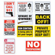 Security Sign Gun Warning Home Alert No Trespassing Dog Owner Keep Out Private