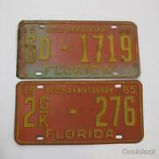 2 Pc Lot Florida 400th Anniversary State License Plates 1965 Car Tags Ad455