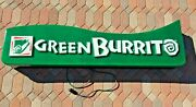 Vintage Working Green Burrito Lighted Sign Large 6 Feet Long Great Condition