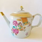 Stunning Mottahedeh Lowestoft Rose Teapot 5 Cup Roses Insects Hand Painted Nice